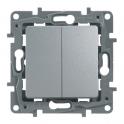 Выключатель/переключатель двухклавишный - Etika - алюминий