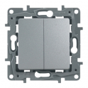 Выключатель/переключатель двухклавишный Niloe/Etika - алюминий