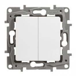 Выключатель двухклавишный - Niloe/Etika - белый