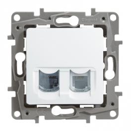 Двойная розетка RJ11+RJ45 - 5e UTP - Niloe/Etika - белый