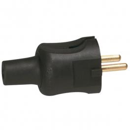 Вилка 2К - серия Элиум - 16 А резина - прямой ввод - черный