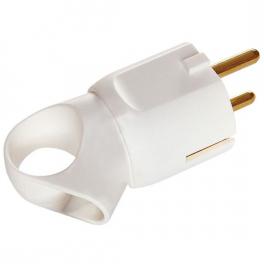 Вилка 2К+3 - серия Элиум - 16 А - с кольцом - пластик - винтовый зажим - белый
