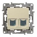 Double socket RJ45 - 6 UTP - Niloe - ivory