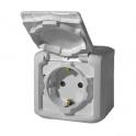 Розетка 2К+З с защитными шторками Quteo - серый