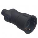 Вилка 2К+3 - серия Элиум - 16 А резина - черный