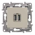Двойная розетка USB 240В/5В 2400мА - Niloe/Etika - слоновая кость