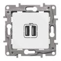 Двойная розетка USB 240В/5В 2400мА - Niloe/Etika - белый