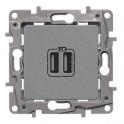 Двойная розетка USB 240В/5В 2400мА - Niloe - алюминий