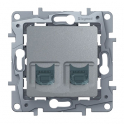 Double socket RJ45 - 5 UTP - Etika - aluminium