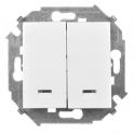 Выключатель двухклавишный с подсветкой - Simon 15 - белый