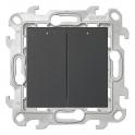 Выключатель двухклавишный с подсветкой - Simon 24 - графит