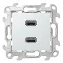 Коннектор USB 2.0 двойной - Simon 24 - белый