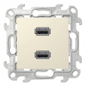 Коннектор USB 2.0 двойной - Simon 24 - слоновая кость