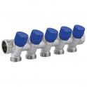 Коллектор с вентилями 1''x 1/2'' C325 - 5 выходов - синий - Carlo Poletti