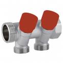 Коллектор с вентилями 3/4''x 1/2'' C322 - 2 выхода - красный - Carlo Poletti