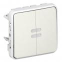 Переключатель двухклавишный с подсветкой - Plexo IP55 - белый