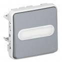 Выключатель кнопочный с подсветкой и держателем этикетки - Plexo IP55 - серый