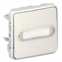 Выключатель кнопочный с подсветкой, Н.О. контакт и держателем этикетки - Plexo IP55 - белый