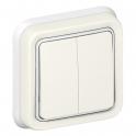 Переключатель двухклавишный на 2 направления - Plexo IP55 - белый