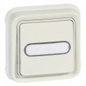 Выключатель кнопочный Н.О. + Н.З. контакты с подсветкой с держателем - Plexo IP55 - белый