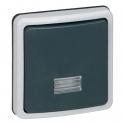 Переключатель двухполюсный на 2 направления с подсветкой - Plexo IP66 - серый