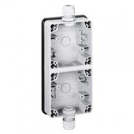 Монтажная коробка вертикальная - 2 поста - Plexo IP66 - серый